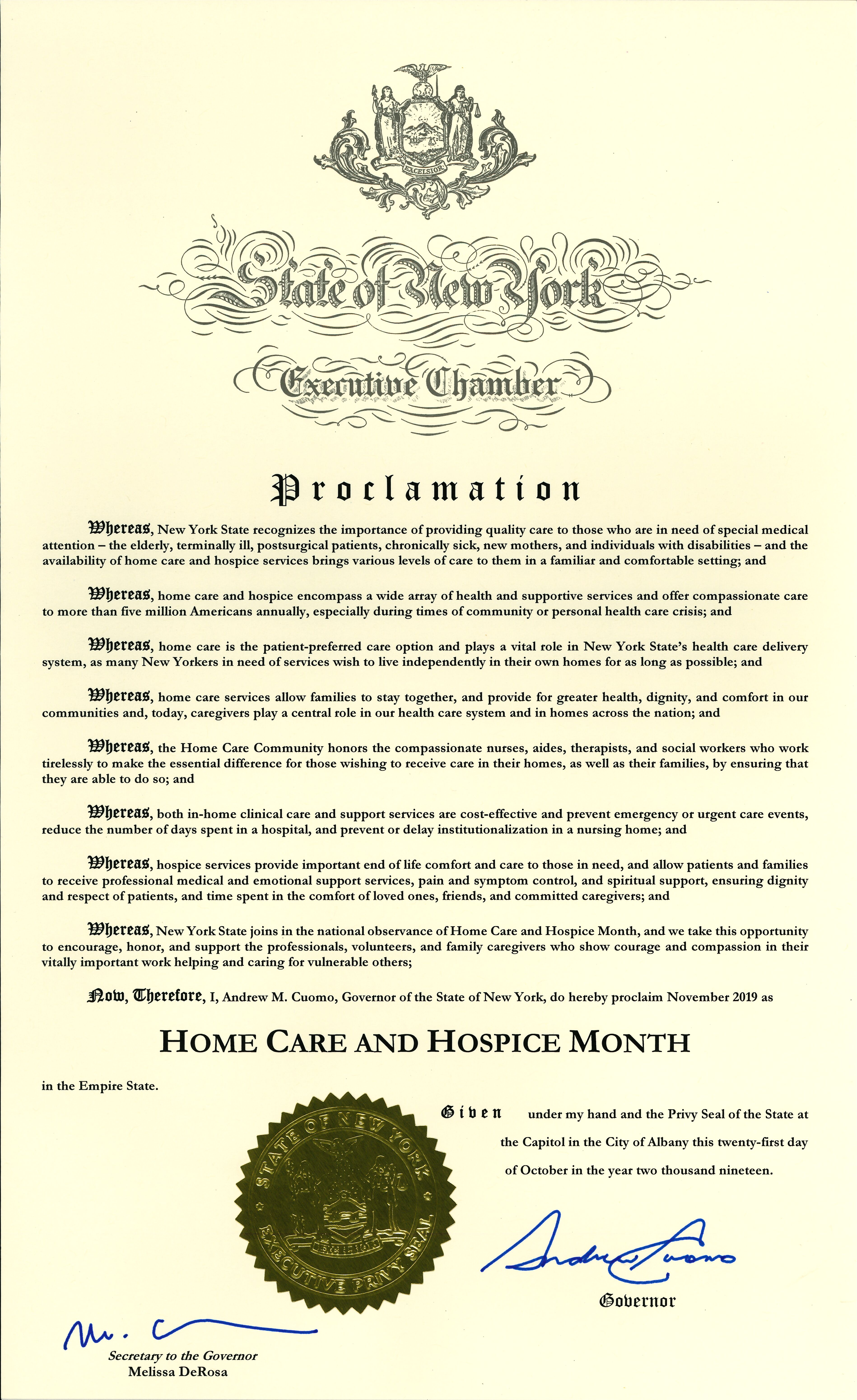 Home Care and Hospice Month New York State Proclamation