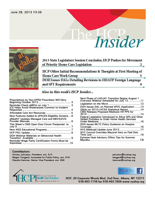 The HCP Insider Newsletter